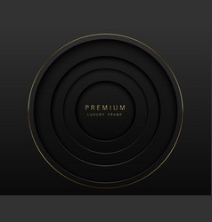 black abstract round paper cut luxury frame vector image