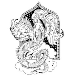Black and white page coloring book fantasy vector
