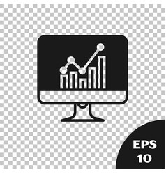 Black computer monitor with graph chart icon vector