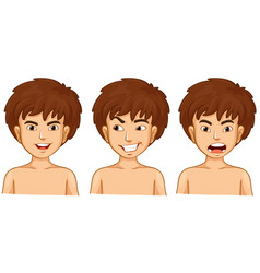 Boy in three emotions vector