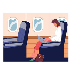 business woman on an airplane trip trip vector image