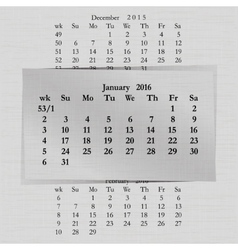 calendar month for 2016 pages January vector image