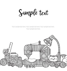 Card template needlework theme with lettering and vector