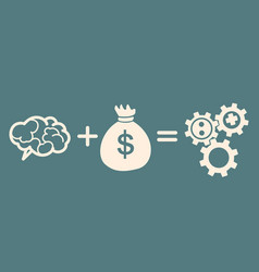 concept of investment brain plus money equals vector image