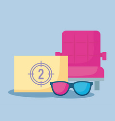 Counter with chair of cinema and glasses 3d vector