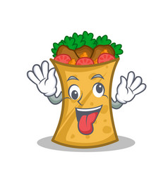 crazy kebab wrap character cartoon vector image