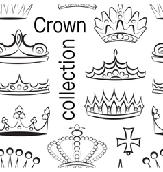 Crown collection pattern vector image