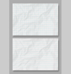crumpled grunge realistic lined old paper vector image