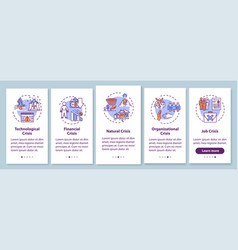 Crysis types onboarding mobile app page screen vector