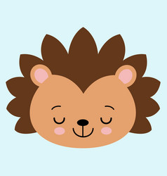 cute flat sleeping hedgehog with blush childish vector image