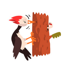 cute woodpecker sitting on a tree and knocking vector image