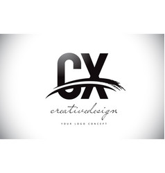 Cx c x letter logo design with swoosh and black vector