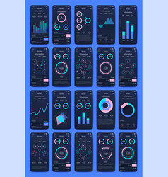 Different ui ux gui screens and flat web icons vector