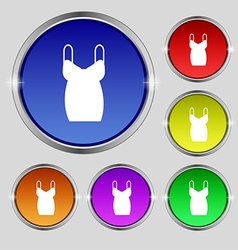 dress icon sign Round symbol on bright colourful vector image