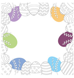 Easter frame with easter eggs hand drawn on white vector