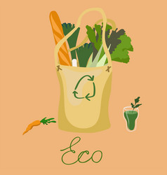 Eco-friendly fabric bag with organic food image vector