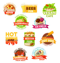 Fast food barbecue meals and beer icons vector