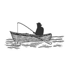 Fisherman boat fishing sketch vector