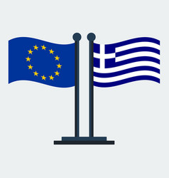 Flag of greece and european unionflag stand vector