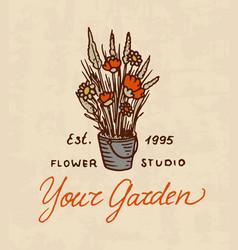 flower shop emblem or bright logo vintage bouquet vector image