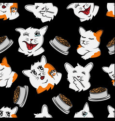 Funny cat cartoon pet seamless pattern kitty vector