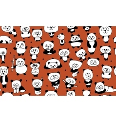 Funny pandas seamless pattern for your design vector image
