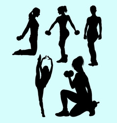 Girl fitness sport activity silhouette vector