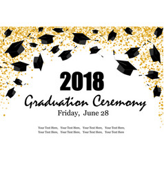 Graduate caps and the gold confetti banner vector