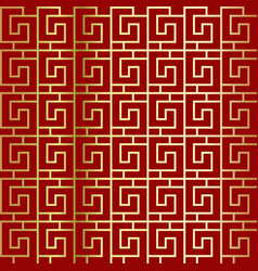 greek pattern on a red background seamless pattern vector image