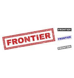 Grunge frontier scratched rectangle stamp seals vector