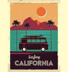 Grunge retro metal sign with palm trees and van vector