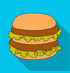 hamburger single icon in flat stylehamburger vector image