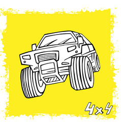 hand drawn offroad car vector image