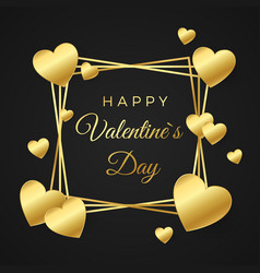 happy valentines day greeting card gold heart and vector image