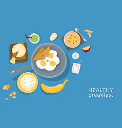 Healthy breakfasts top poster frame vector