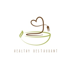 healthy restaurant concept with heart and plate vector image