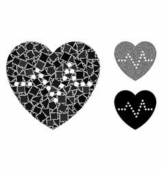 Heart pulse mosaic icon unequal pieces vector