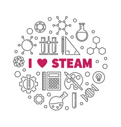 I love steam creative concept round linear vector