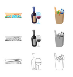 isolated object of food and drink logo collection vector image