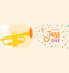 jazz day banner of trumpet music instrument vector image