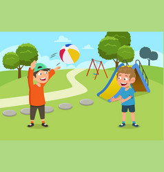 Kids playing ball in playground vector