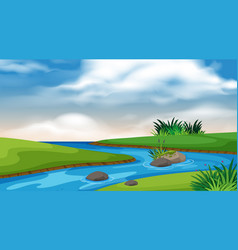 landscape background design river and blue sky vector image