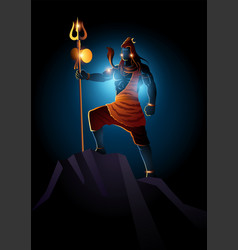 Lord shiva on dark background vector