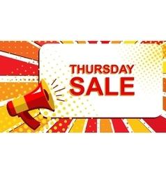 Megaphone with THURSDAY SALE announcement Flat vector