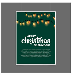 merry christmas decoration lighting green template vector image