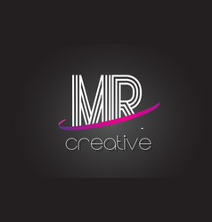 mr m r letter logo with lines design and purple vector image
