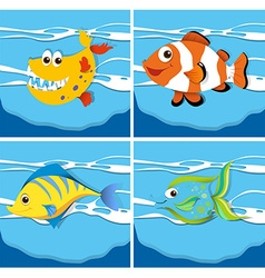 Ocean scene with sea animals underwater vector
