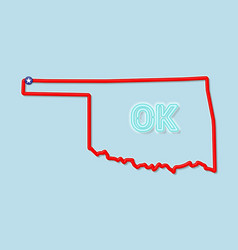 Oklahoma us state bold outline map vector