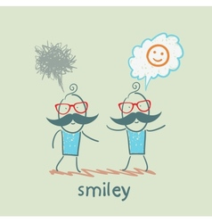 One thinks about smileys the other person sad vector