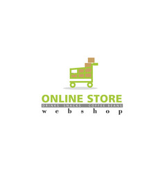 online store logo with shopping cart vector image